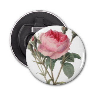 Pale pink vintage roses painting button bottle opener