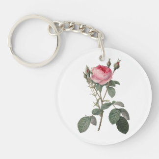 Pale pink vintage roses painting Double-Sided round acrylic keychain