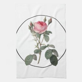 Pale pink vintage roses painting hand towel