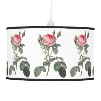 Pale pink vintage roses painting hanging pendant lamp
