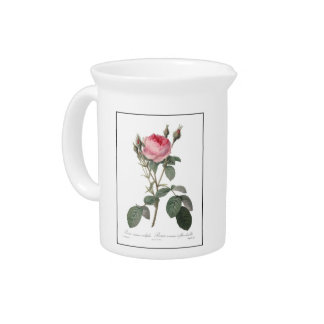 Pale pink vintage roses painting pitcher