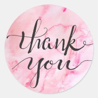 Pale Pink Watercolored  Gratitude Classic Round Sticker