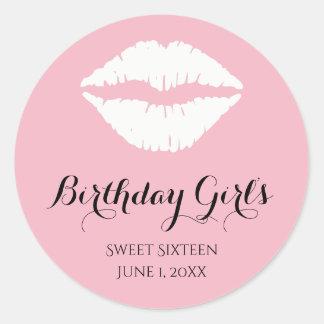 Pale Pink White Lipstick Sweet 16 Birthday Party Classic Round Sticker