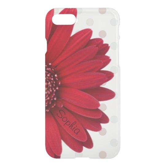 Pale Polka Dot Red Daisy Custom Name iPhone 7 Case