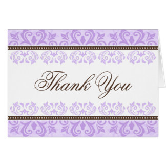 Pale purple and brown lace damask thank you card