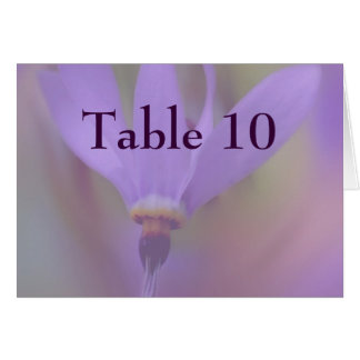 Pale Purple Flower Wedding Table Number Card