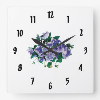 Pale Purple Pansies Square Wall Clock