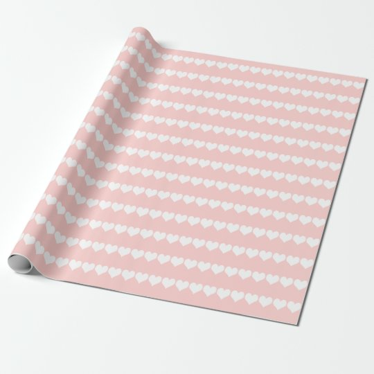 Pale Rose White Heart Stripes Wrapping Paper