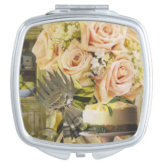 Pale Roses and Lemon Cake Compact Mirrors