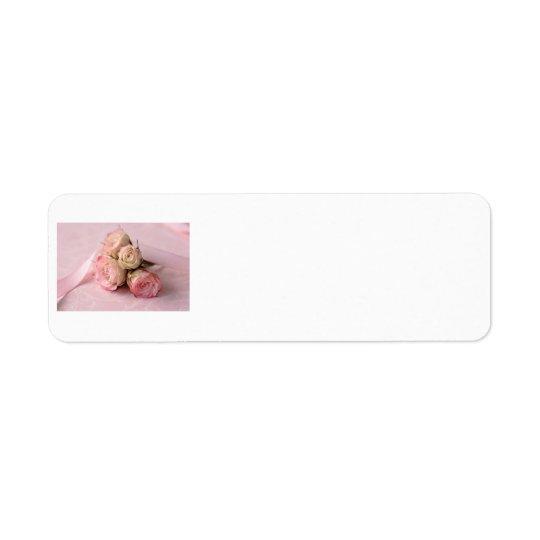pale roses on pink swirls label return address label