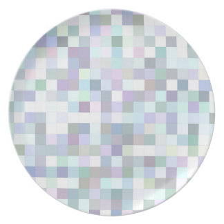 Pale square mosaic dinner plate