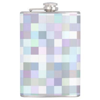 Pale square mosaic hip flask
