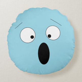 Pale Surprised Shocked Silly Smiley Face Pillow