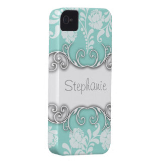 Pale Teal Blue Green with White Roses iPhone 4 Cases