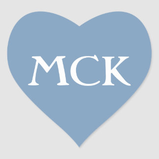 Pale Turquoise and White Love Heart Monogram Heart Sticker