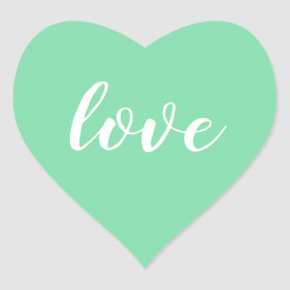 Pale Turquoise and White Love Heart Personalized Heart Sticker