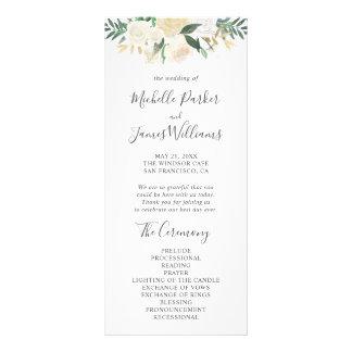 Pale Watercolor Floral Wedding Program