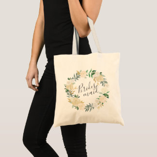 Pale Watercolor Floral Wreath Bridesmaid Tote Bag