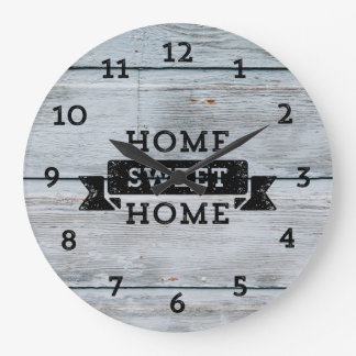 Pale Wood Rustic Home Sweet Home Large Clock