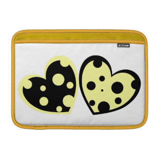 Pale Yellow And Black Hearts Macbook Air Sleeve