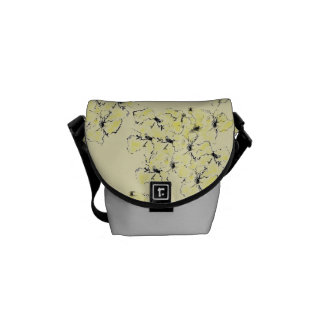 Pale Yellow and Ink Sketch Summer Wild Flowers Courier Bag