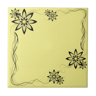 Pale Yellow & Black Flowers Decorated Ceramic Tile