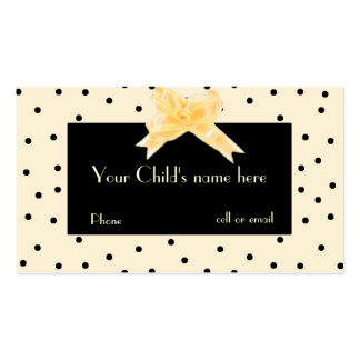 Pale Yellow & Black Girl's Play Date Card Business Cards