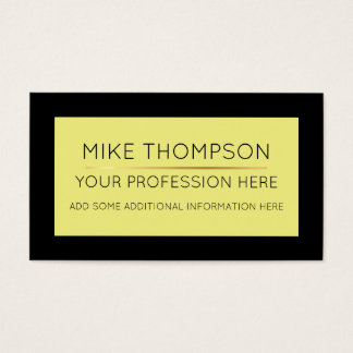 pale yellow & black, super simple & modern business card
