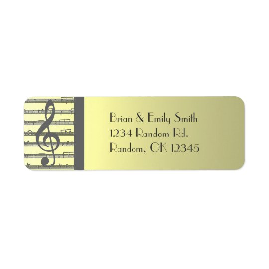 Pale yellow grey music return address labels