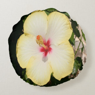Pale Yellow Hibiscus Flower - Front View Round Pillow