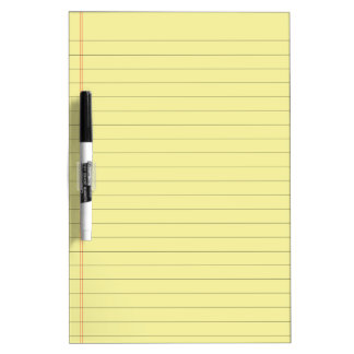 Pale Yellow Lined Dry Erase Board