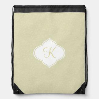 Pale Yellow Monogram Drawstring Bag