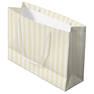 Pale Yellow Neutral Soft Stripes Large Gift Bag