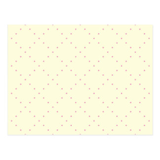 Pale Yellow & Pink Dots in Diamond Grid Postcard