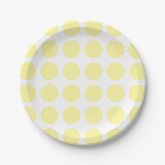 Pale Yellow Polka Dots Paper Plates 7 Inch Paper Plate