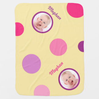 Pale Yellow with Pink and Purple Polka Dots Photo Baby Blanket