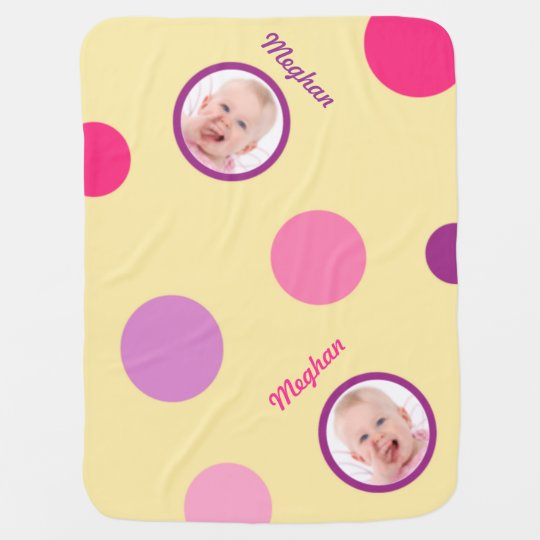 Pale Yellow with Pink and Purple Polka Dots Photo Stroller Blanket