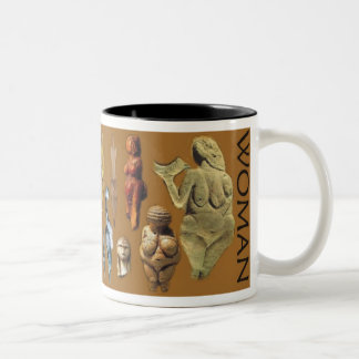 Paleolithic Woman Two-Tone Coffee Mug