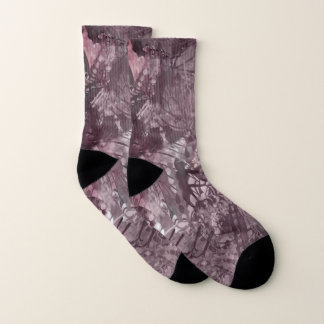 PalePink Grunge Collage Small All-Over-Print Socks