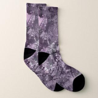 PalePlum Grunge Collage Large All-Over-Print Socks 1