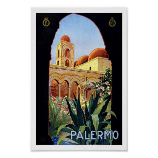 Palermo Italy Church Europe Vintage Travel Poster