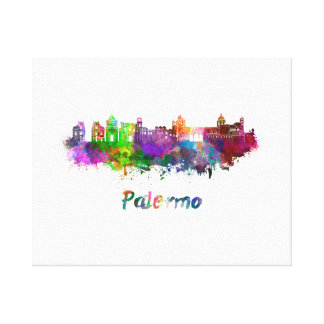Palermo skyline in watercolor canvas print