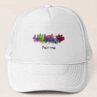 Palermo skyline in watercolor trucker hat