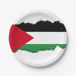 Palestine Flag 7 Inch Paper Plate