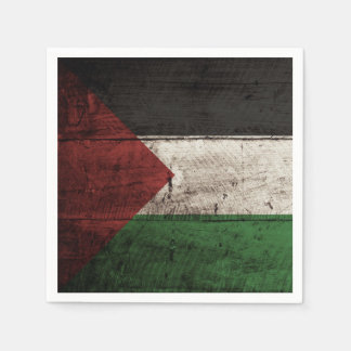 Palestine Flag on Old Wood Grain Paper Napkins