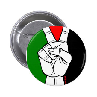 PALESTINE FLAG PEACE SIGN 2 INCH ROUND BUTTON