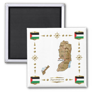 Palestine Map + Flags Magnet