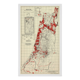 Palestine Village Map 1949 Poster