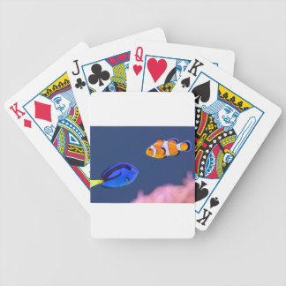 Palette surgeonfish and clown fish swimming bicycle playing cards