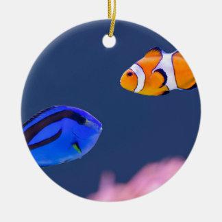 Palette surgeonfish and clown fish swimming round ceramic ornament